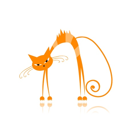 striped: Angry orange striped cat for your design