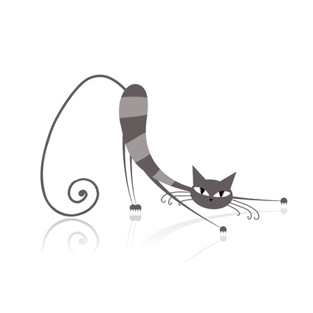 grey cat: Graceful grey striped cat  for your design  Illustration
