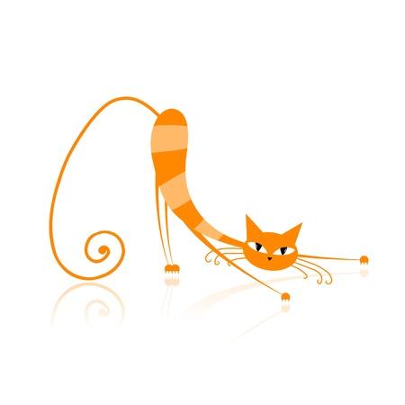 cartoon poes: Sierlijke oranje gestreepte kat voor uw ontwerp  Stock Illustratie