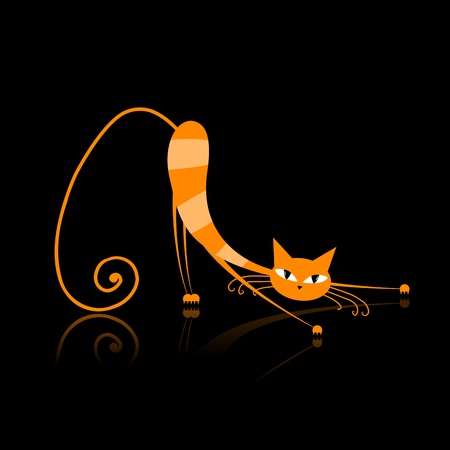 pussycat: Graceful orange striped cat for your design
