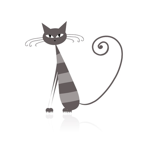 Funny grey striped cat for your design  Stock Vector - 9128509