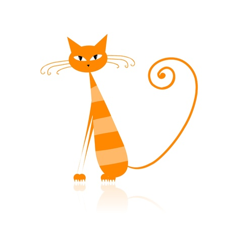 Funny orange striped cat for your design  Stock Vector - 9128511