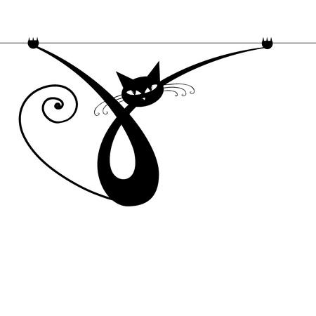 gato negro: Silueta gr�cil gato negro para su dise�o  Vectores