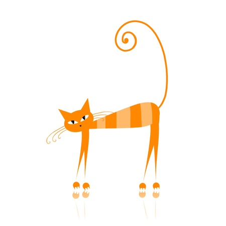 Funny orange striped cat for your design  Stock Vector - 9128475