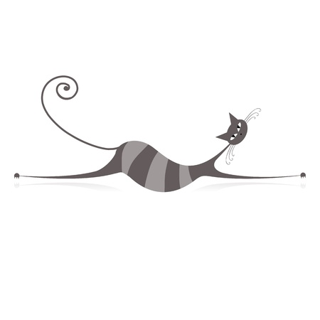 grey cat: Graceful grey striped cat for your design