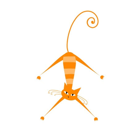 Funny orange striped cat for your design  Vector