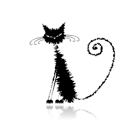 Funny black wet cat for your design  Vector