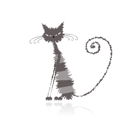 grey cat: Funny grey wet cat for your design