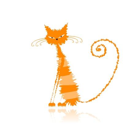 Funny orange chat humide pour votre conception