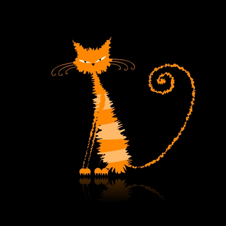 Funny orange wet cat for your design  Illustration