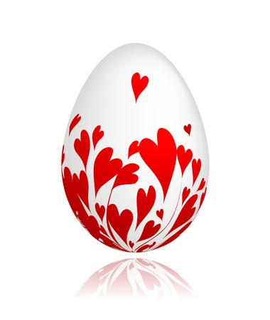 Easter egg with red hearts for your design Stock Vector - 9128588