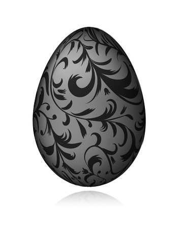 Easter egg black with floral ornament for your design Vector