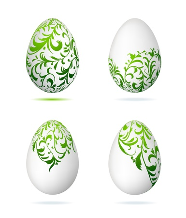 Easter eggs white with floral ornament for your design Vector