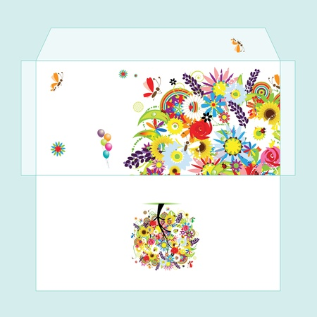 Design of envelope with floral tree Stock Vector - 9128697