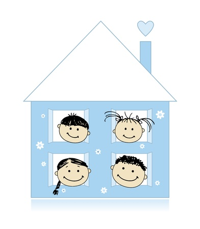 pigtail: Happy family at own house smiling together, drawing sketch