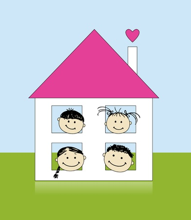 Happy family at own house smiling together, drawing sketch  Vector