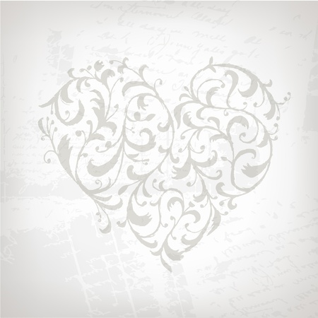 Floral ornament heart shape for your design  Vector