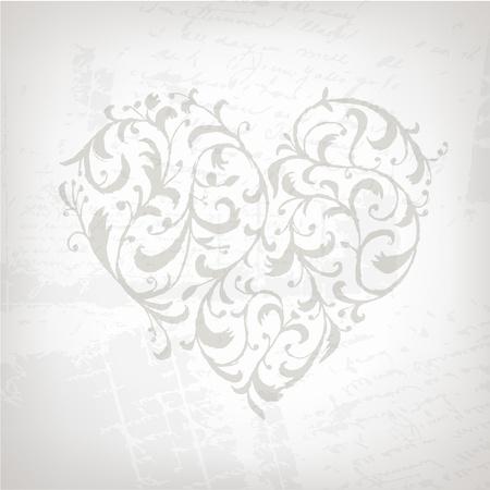 corazon dibujo: Forma de coraz�n de adorno floral para su dise�o