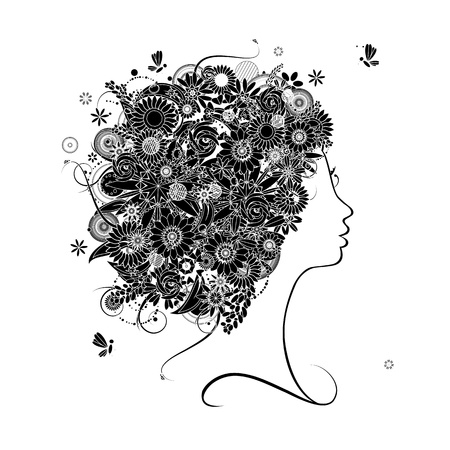 Female profile silhouette, floral hairstyle for your design Stock Vector - 9128622