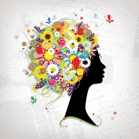 Profil femelle, coiffure floral pour votre conception