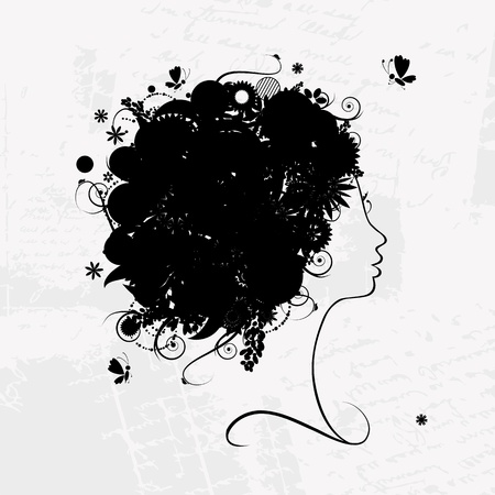 Female profile silhouette, floral hairstyle for your design Stock Vector - 9128642
