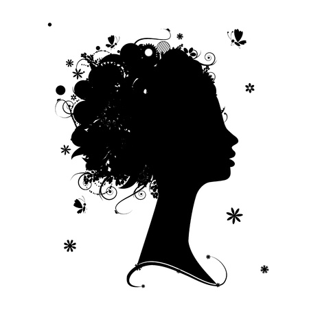 Female profile silhouette, floral hairstyle for your design Vector