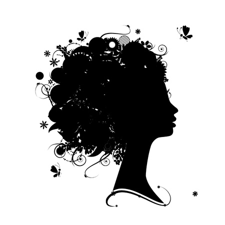 Silueta femenina de perfil, peinado floral para el diseño