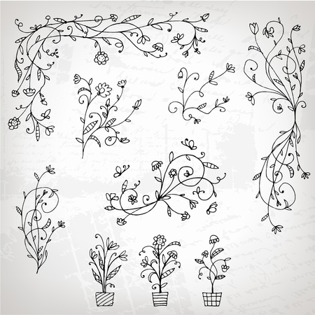 Floral ornament sketch, silhouette for your design  Vector