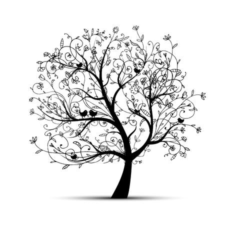 duif tekening: Art tree mooi, zwart silhouet voor uw ontwerp