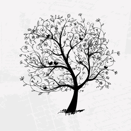 Art tree beautiful, black silhouette for your design  Vector