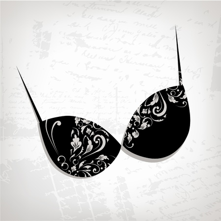 Female bra, floral ornament for your design Stock Vector - 9128661