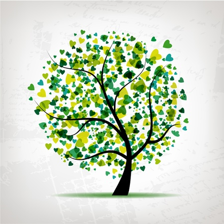 Abstract tree with heart leaf on grunge background for your design Vector