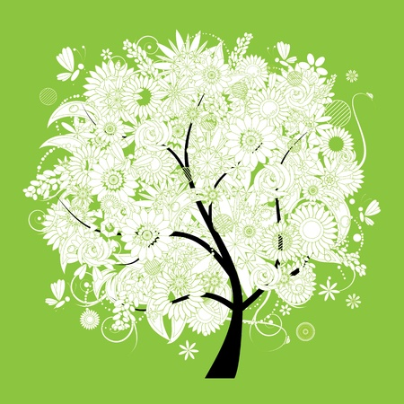 Spring beautiful white tree for your design Vector