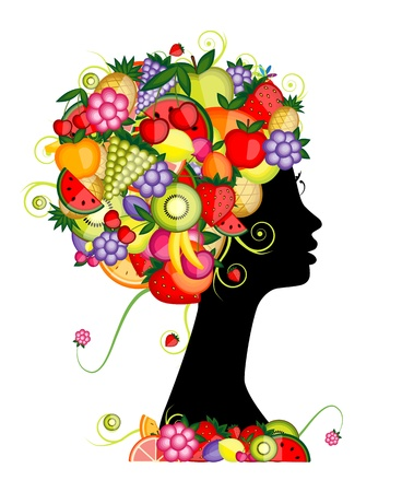 Female profile silhouette, hairstyle with fruits for your design Vector
