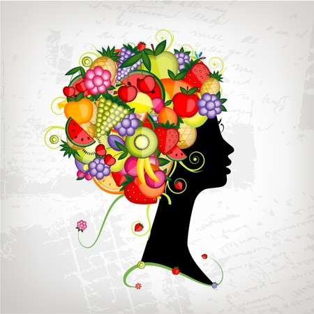 apple slice: Female profile silhouette, hairstyle with fruits for your design