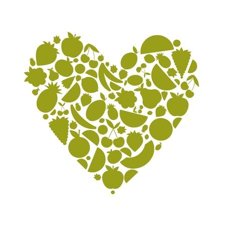 green apple slice: Energy fruit heart shape for your design