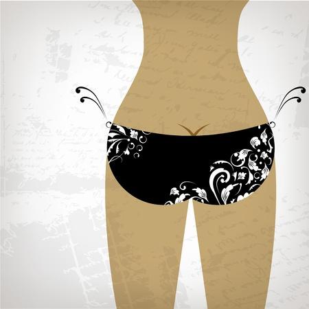 Bikini bottom on grunge background, view back Vector