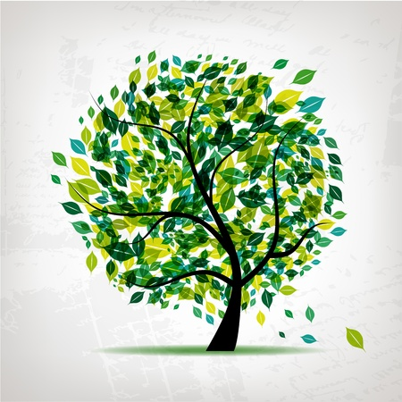 Spring tree green on grunge background for your design Stock Vector - 9128733