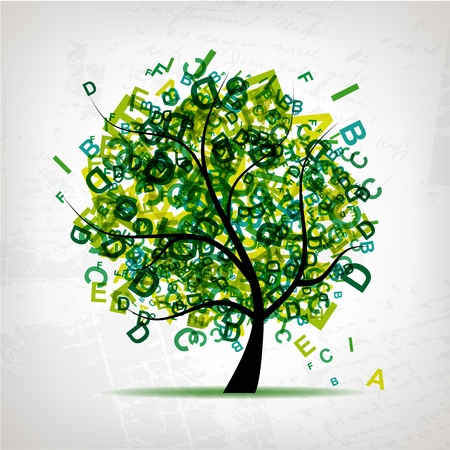 Art tree with letters green for your design Vector