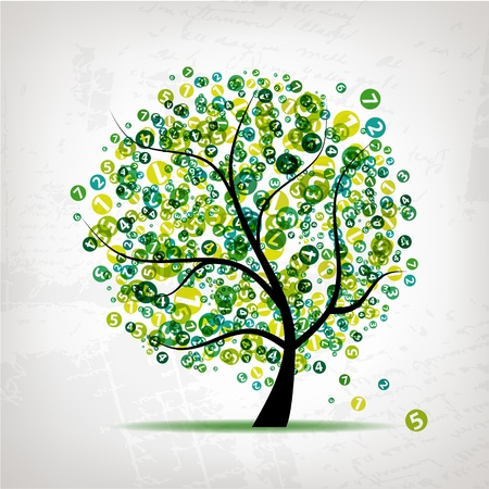 financial item: Art tree with figures green for your design Illustration