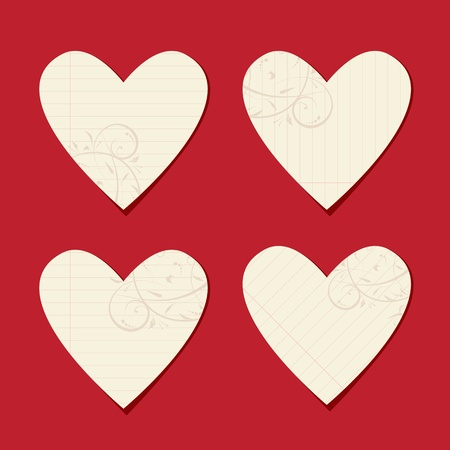 Valentine cards from sheet of paper for your design Stock Vector - 9128570