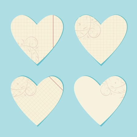 Valentine cards from sheet of paper for your design Stock Vector - 9128575