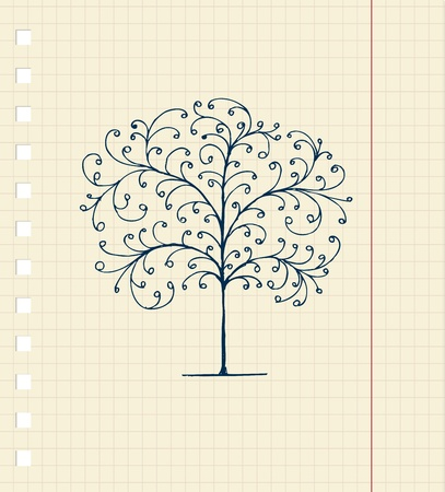 Sketch of tree on notebook sheet for your design Vector