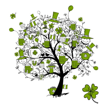 St. Patricks Day, drawing tree with beer mugs for your design Vector