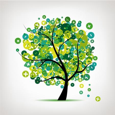 Árbol de arte con signos de más y menos para el diseño Ilustración de vector