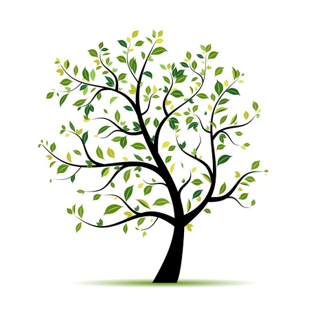 branch tree: Spring tree green for your design