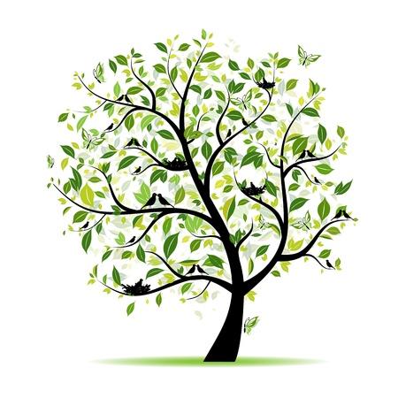 birds nest: �rbol de primavera verde con aves para su dise�o