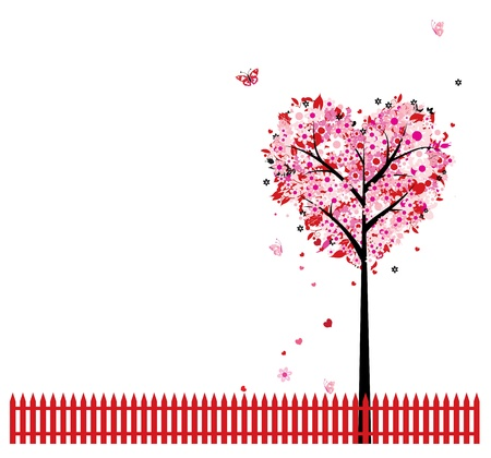 fall in love: Pink floral tree, heart shape for your design