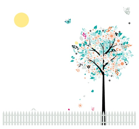 symbol fence: Floral tree beautiful for your design, birds on fence