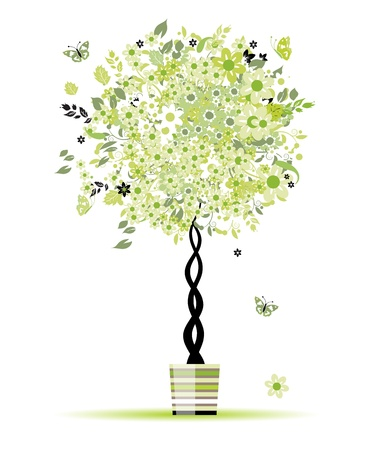 plant pot: Spring floral tree green in pot for your design